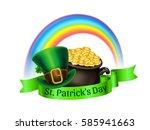 st.patrick's day logo. pot of... | Shutterstock .eps vector #585941663