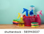 spring cleaning concept with... | Shutterstock . vector #585943037