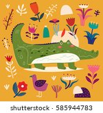 beautiful illustration with... | Shutterstock .eps vector #585944783