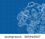 technical blue background with... | Shutterstock .eps vector #585964037
