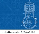 technical blue background with... | Shutterstock .eps vector #585964103