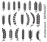 wheat ears icons and logo set.... | Shutterstock .eps vector #585964307