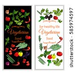 vertical vegeterian banner with