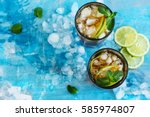 summer cuba libre cocktail with ... | Shutterstock . vector #585974807