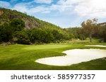 golf course on island seychelles   Shutterstock . vector #585977357