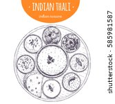 indian thali top view vector... | Shutterstock .eps vector #585981587
