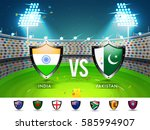 cricket match participating... | Shutterstock .eps vector #585994907