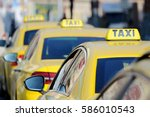 detail of yellow taxi cars on... | Shutterstock . vector #586010543