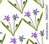 bluebell  scilla  primroses.... | Shutterstock . vector #586012547