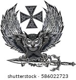 tattoo owl and sword   Shutterstock .eps vector #586022723