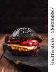 homemade veggie black oatmeal... | Shutterstock . vector #586038887