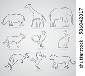 a set of contours  silhouettes... | Shutterstock .eps vector #586042817