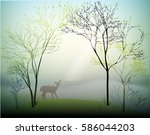 deer in spring forest on the... | Shutterstock .eps vector #586044203