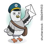 carrier pigeon holding a letter.... | Shutterstock .eps vector #586049453