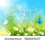 easter theme with a butterfly... | Shutterstock .eps vector #586065647