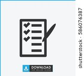 check list icon. simple filled... | Shutterstock .eps vector #586076387