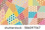 vector patchwork quilt pattern. ...   Shutterstock .eps vector #586097567
