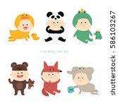 cute baby icon set. vector... | Shutterstock .eps vector #586103267