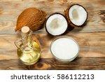 coconut oil  coconut on a... | Shutterstock . vector #586112213