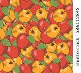 vintage apple seamless pattern | Shutterstock .eps vector #586112843