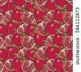 vintage pomegranate seamless... | Shutterstock .eps vector #586112873