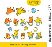 Stock vector play time little cat and dog are playing toy balls set of cute animal characters and graphic 586114277