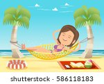 sexy woman wear bikini happy... | Shutterstock .eps vector #586118183