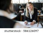 female designer architect... | Shutterstock . vector #586126097