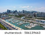 old port downtown of montreal... | Shutterstock . vector #586139663