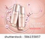 elegant cherry blossom cosmetic ... | Shutterstock .eps vector #586155857