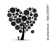 sew with love  tree with... | Shutterstock .eps vector #586159397