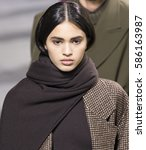Small photo of NEW YORK, NY - FEBRUARY 14, 2017:Aira Ferreira walks the runway at the Michael Kors Fall Winter 2017 fashion show during New York Fashion Week at the Spring Studios