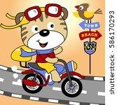 a cute animal riding a... | Shutterstock .eps vector #586170293