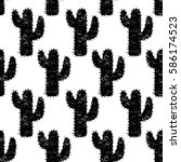 Pattern Of Silhouette Cactus....