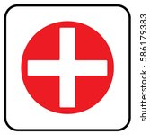 first aid sign white. vector. | Shutterstock .eps vector #586179383