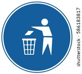 recycling sign blue. vector. | Shutterstock .eps vector #586183817