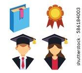 graduation man and woman... | Shutterstock .eps vector #586184003