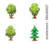 Cartoon Garden Green Tree...
