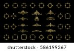 gold vintage decor elements and ... | Shutterstock . vector #586199267
