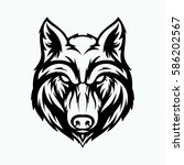 wolf head angry face logo with... | Shutterstock .eps vector #586202567