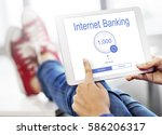 online banking internet finance ... | Shutterstock . vector #586206317