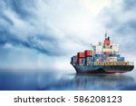 international container cargo... | Shutterstock . vector #586208123