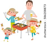 illustration of family enjoying ... | Shutterstock .eps vector #586208873