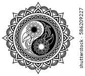 vector henna tatoo mandala. yin ... | Shutterstock .eps vector #586209227