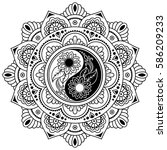 vector henna tatoo mandala. yin ... | Shutterstock .eps vector #586209233