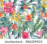 watercolor vintage floral... | Shutterstock . vector #586209923