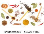 colorful spices and herbs for... | Shutterstock . vector #586214483
