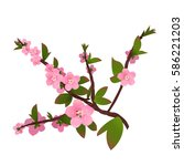 Branch Of Peach Flowers And...