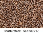 roasted coffee beans and coffee ... | Shutterstock . vector #586233947