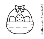 easter basket linear icon. thin ... | Shutterstock .eps vector #586249613